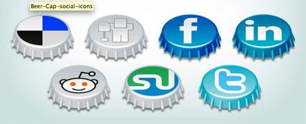 Beer Cap Social Icons Gratuit: Liste dicones pour médias sociaux