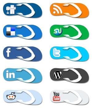 Flip Flop Social Media Icons Gratuit: Liste dicones pour médias sociaux
