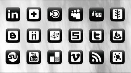 Matte Black Social Media Gratuit: Liste dicones pour médias sociaux