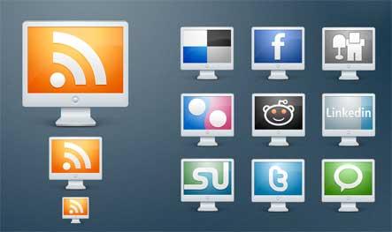 PC Social Media Icons Gratuit: Liste dicones pour médias sociaux