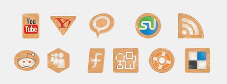 Social Icons Made of Wood Gratuit: Liste dicones pour médias sociaux