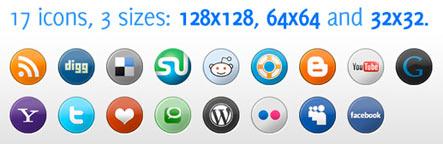 Social Media Icons Pack 3 Sizes Gratuit: Liste dicones pour médias sociaux