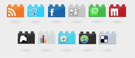 SocioLEGO Lego Social Icon Set Gratuit: Liste dicones pour médias sociaux