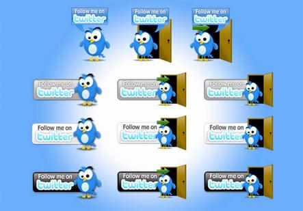 Twitter Button Pack Gratuit: Liste dicones pour médias sociaux
