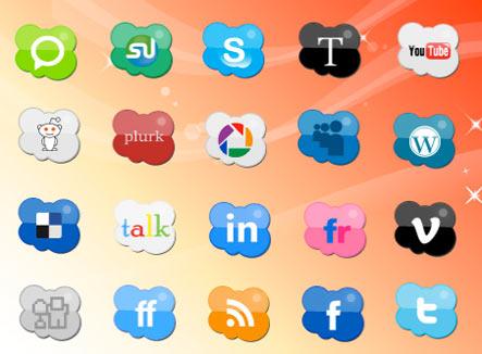 clouds icons Gratuit: Liste dicones pour médias sociaux
