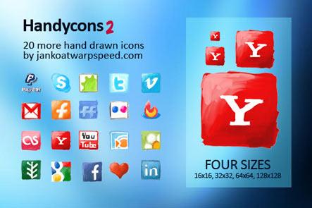 handycons Gratuit: Liste dicones pour médias sociaux